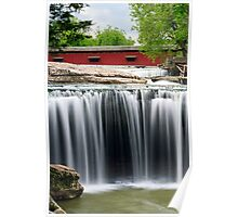 Waterfall and Red Covered Bridge Poster