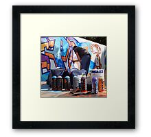 Graffiti Artist at Work with Tools Framed Print