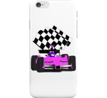 Pink Race Car with Checkered Flag iPhone Case/Skin