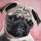 Bailey - Pug dog portrait animal painting by LindaAppleArt