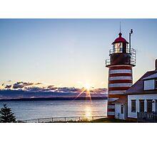 West Quoddy Lighthouse Maine Sunrise  Photographic Print