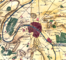 Map of the environs of Paris, France, Bonne,1780 Sticker
