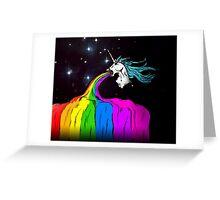 Unicorn puking rainbow Greeting Card