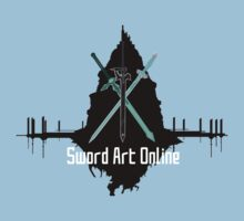 Sword Art Online Swords with Aincrad (Coloured Background #2) by ForeverDarkrai