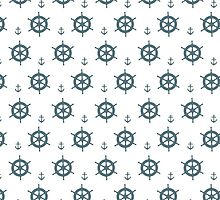 Nautical Theme - Ships Wheels and Anchors by wrapsio