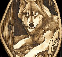 Wolf On A Basswood Slice by Joanne Phillips