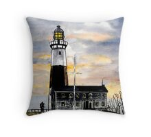Montauk Point Lighthouse New York Throw Pillow