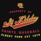 Property of St Kilda Baseball Club Script T-Shirt Black/White/Charcoal/Grey by St Kilda Baseball Club
