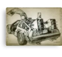 Delorean time machine drawing Canvas Print