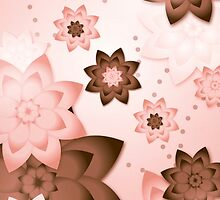 Pink & Brown Flowers by aristroyallove