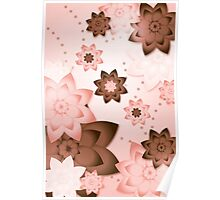 Pink & Brown Flowers Poster