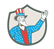 Uncle Sam American Hand Up Shield Retro by patrimonio