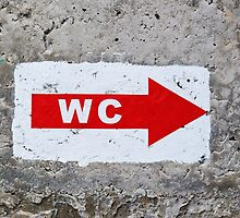 "sign ""WC"" on the rough concrete wall by Sergieiev"