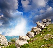 magnificent mountain landscape with clouds and fog relief by Sergieiev