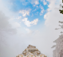 magnificent mountain landscape with clouds and fog relief Sticker