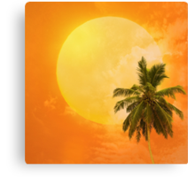 Silhouettes of palm trees on the artistic background Canvas Print