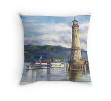 Lindau Lighthouse and Harbour, Germany Throw Pillow