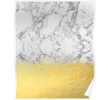 Marble with Brushed Gold - Gold foil, gold, marble, black and white, trendy, luxe, gold phone Poster