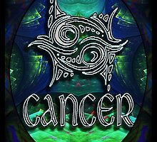 CANCER Zodiac Sign Horoscope Colorful Birth Month Colorful Fractal Psychedelic Design by capartwork