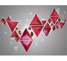 Red 3d Triangles 2 Photographic Print