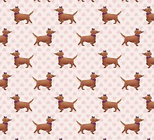 Watercolor Dachshund Pattern by megsneggs