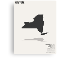 New York Minimalist State Map with Stats Canvas Print