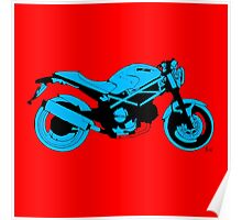 Red and blue Ducati Monster Poster
