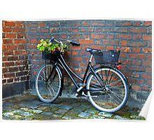 Bicycle With Flower Basket, Copenhagen, Denmark Poster