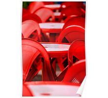 Red abstract with chairs Poster