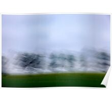 Motion blurred green landscape abstract Poster