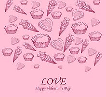 Card with sweet-stuff  on the Day of St. Valentine by Ann-Julia