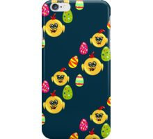 Easter seamless pattern with eggs and chicks on the darck background iPhone Case/Skin