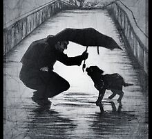 Dog, umbrella, kindness drawing by RobCrandall