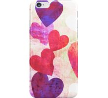Fab Pink & Purple Grungy Hearts Design iPhone Case/Skin