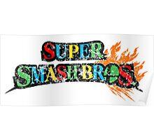 Super Smash Bros Logo W/ Mario World Colors Poster
