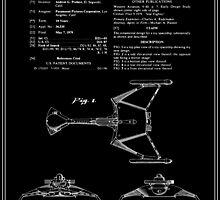 Klingon Fighter Toy Figure Patent - Black by FinlayMcNevin