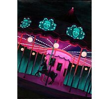 Pink and Purple Carnival, Oil Painting of Carousel, horse and faces Photographic Print