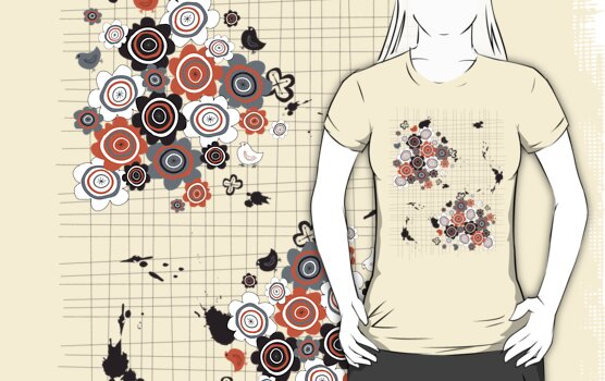 Orange Flowers & Chicks Scrapbook Doodles T-shirt by fatfatin