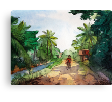 landscape watercolor Indian village, a cyclist on the road Canvas Print