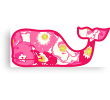 Lilly Pulitzer Whale Cherry Begonias Canvas Print
