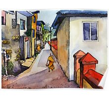 landscape watercolor Indian village Poster