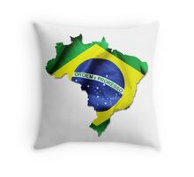 Brazil Flag Country Throw Pillow