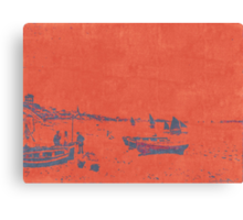 BEACH SCENE IN RED AND BLACK AFTER MONET Canvas Print