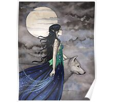 """""""Night of the Wolf"""" Gothic Fantasy Art by Molly Harrison Poster"""
