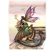 Dragons Orbs Fairy and Dragon Art by Molly Harrison Poster