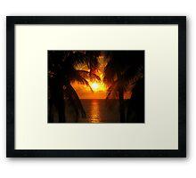 Palm Tree Silhouette, Sunset Framed Print