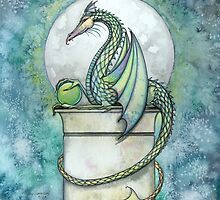 Green Dragon Watercolor Fantasy Art Illustration  by Molly  Harrison