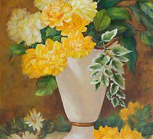 Golden Dahlias Oil Paintng by Sue Cervenka