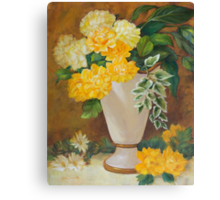 Golden Dahlias Oil Paintng Canvas Print