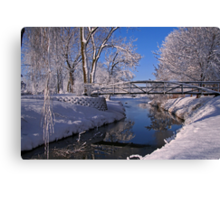 Bridge Over Icy Water Canvas Print